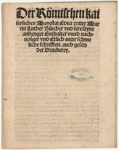 Dokument: Wormser Edikt 1521