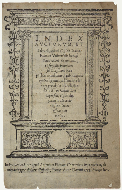Title page: list of banned books of the Catholic Church, 1559