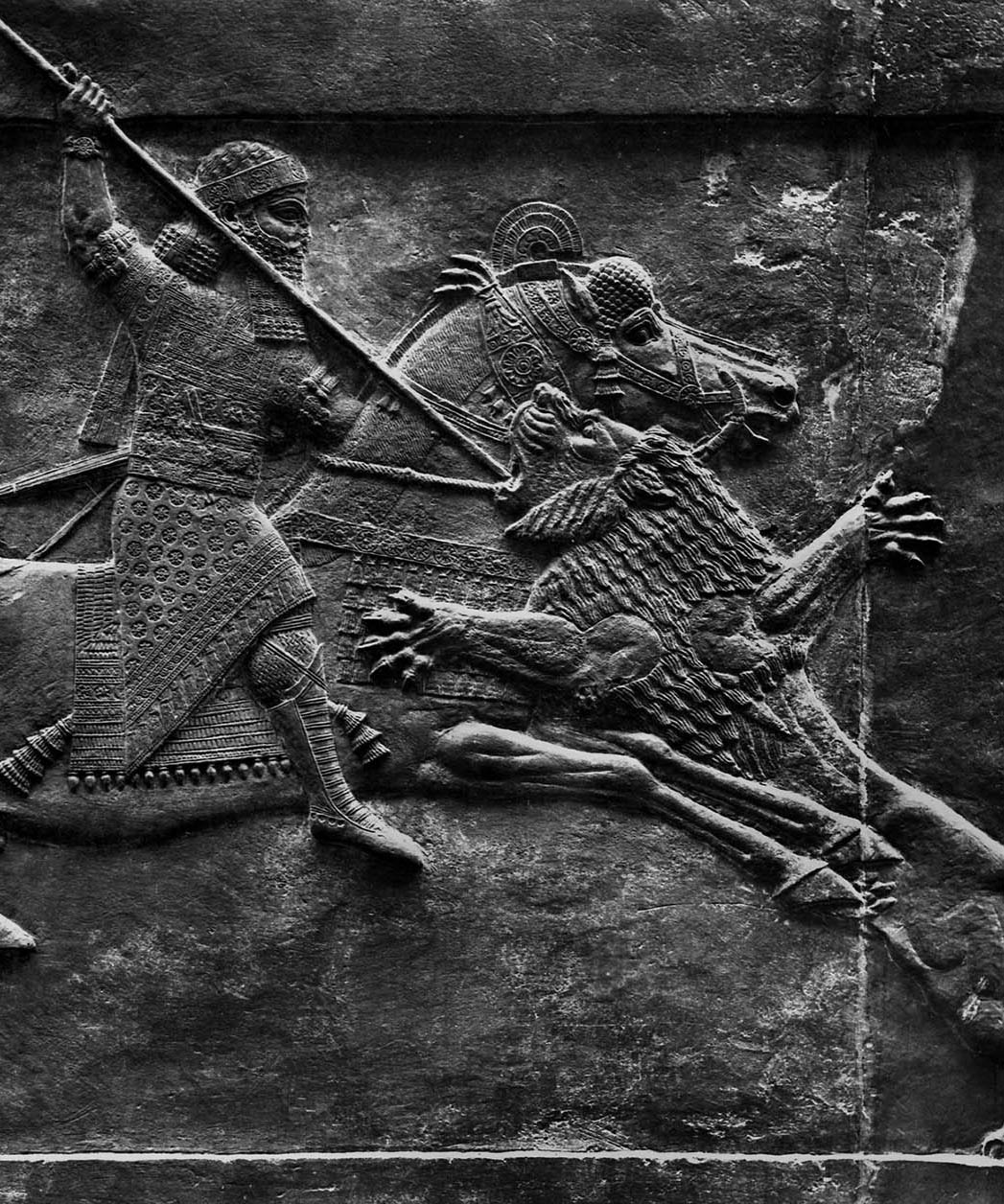 Relief: Assurbanipal on a lion hunt