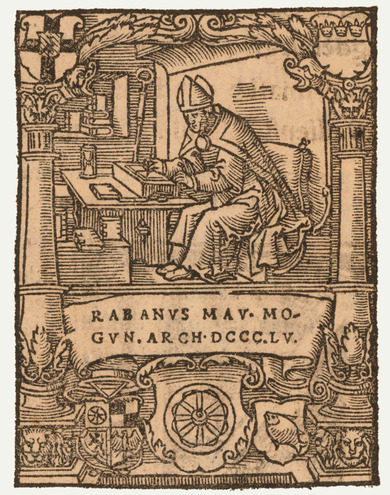 Woodcut: Hrabanus Maurus as bishop of Mainz