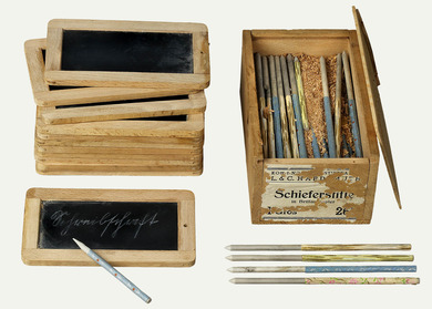 Objects: slates for writing, slate pencil