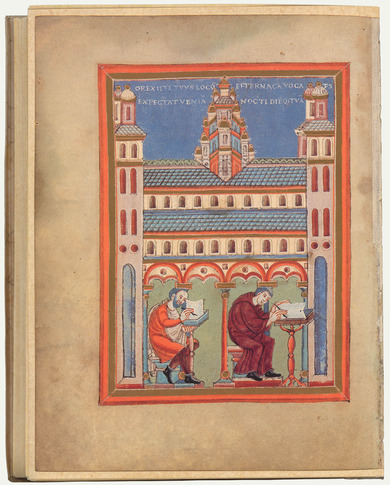 Illumination: miniature of a scriptorium