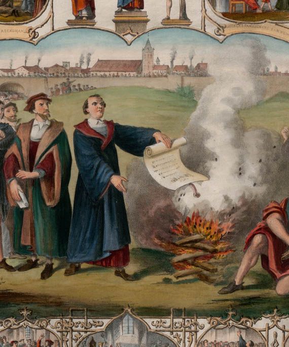 Lithograph: Luther burning the Papal Bull